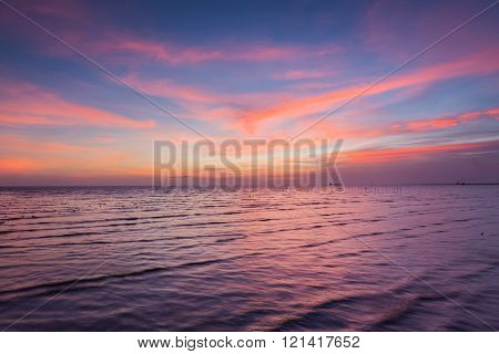 Beautiful skyline over seacoast, natural background