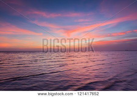 Beautiful skyline over seacoast, natural background