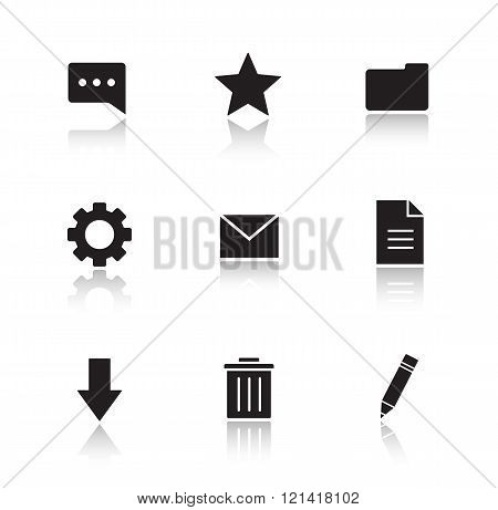 File manager drop shadow icons set