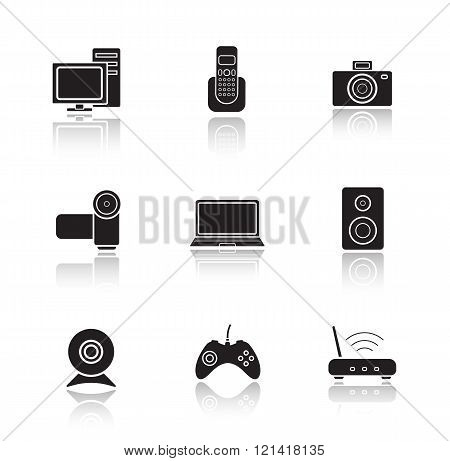 Electronic equipment drop shadow icons set.