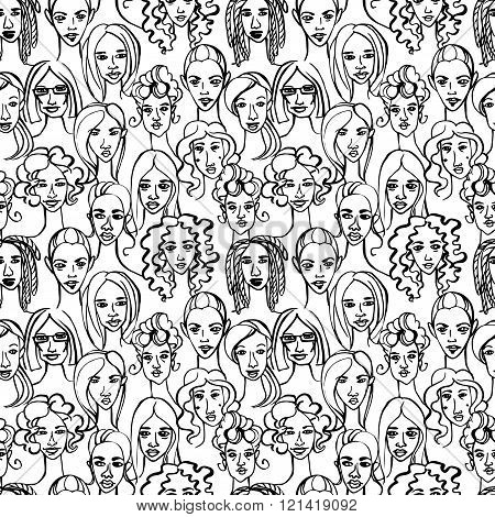 Seamless pattern of female doodle hand drawn portraits. Black an