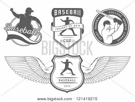 Set of vintage baseball labels logo sign badges icons and outfit. Collection of baseball club emblem and design elements. Baseball tournament professional logo and sports graphic.