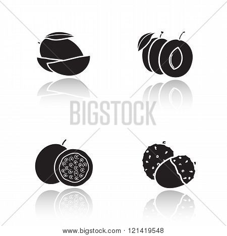 Sliced fruits drop shadow icons set