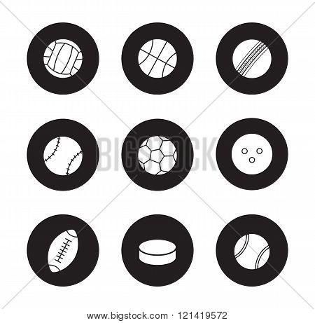 Sport balls black icons set