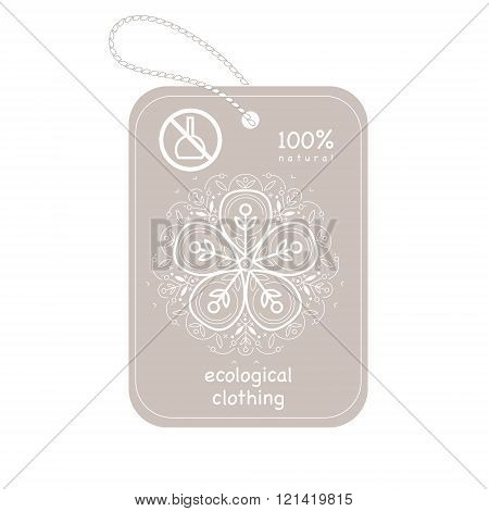Vector template label style of organic design with image decorative flower flax. Organic vector. Modern illustration for stores of organic clothing organic textiles organic stuff for children.