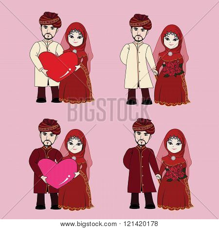 Muslim Wedding Couple Cartoon
