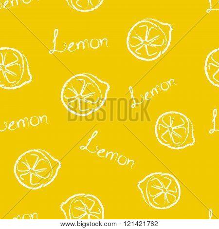 Seamless Pattern Yellow Lemon