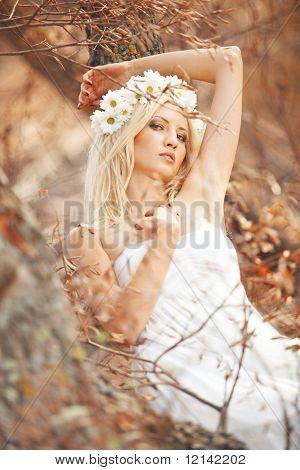 Portrait of beautiful autumn nymph
