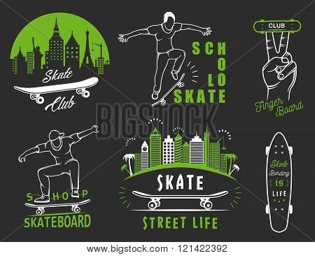 Set of skateboarding logo badge emblems stickers labels and elements of street style. Collection sign street art street life and graffiti
