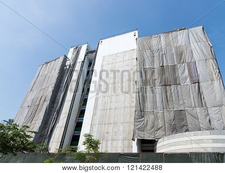 Modern building  with  canvas