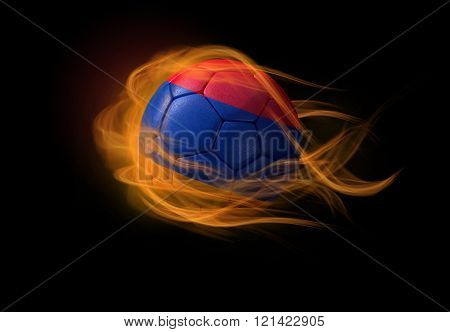 Soccer Ball With The National Flag Of Armenia, Making A Flame.