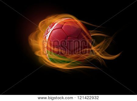 Soccer Ball With The National Flag Of Belarus, Making A Flame.