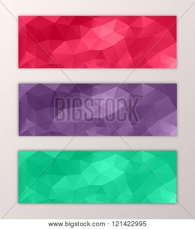 Website banner template set abstract triangle polygon colorful background design