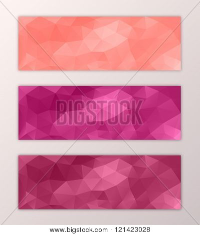 Website modern banner template set with abstract triangle polygon background