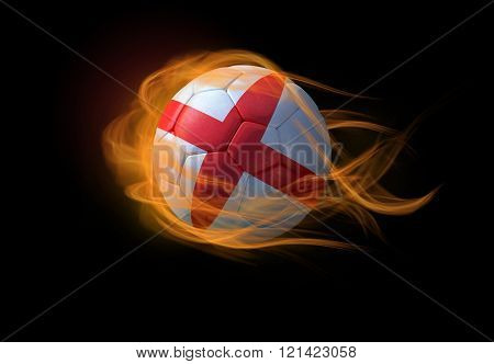 Soccer Ball With The National Flag Of England, Making A Flame.