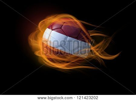 Soccer Ball With The National Flag Of Latvia, Making A Flame.