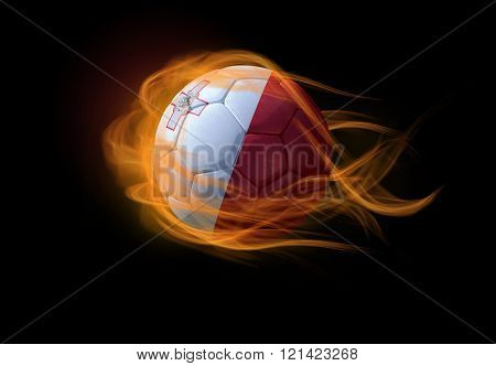 Soccer Ball With The National Flag Of Malta, Making A Flame.