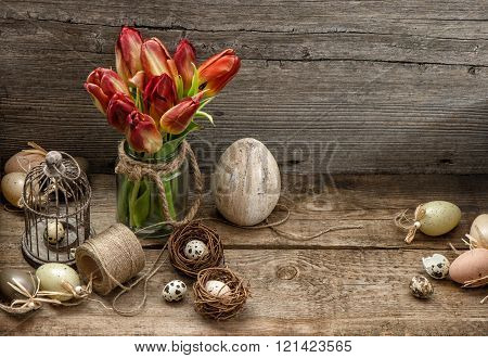 Easter Decoration With Eggs And Tulip Flowers. Country Style