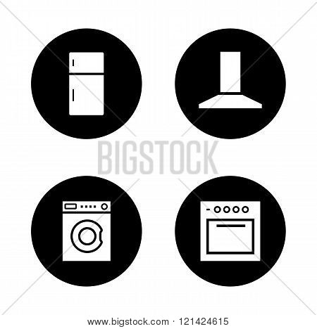 Household appliances black icons set