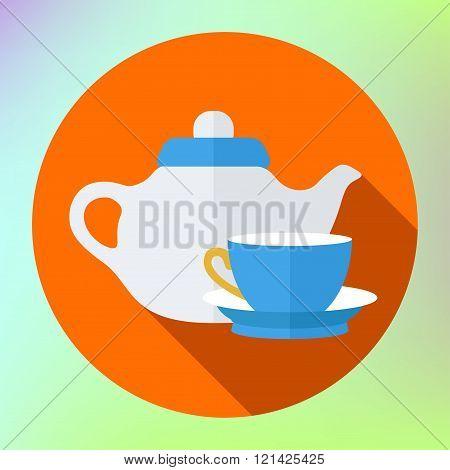 teapot cup icon. Kettle Tea