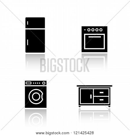 Kitchen appliances drop shadow icons set