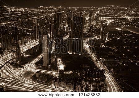 Dubai Downtown Night Scene With City Lights. Top View