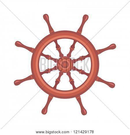 Yacht wheel vector illustration. Yacht wheel isolated on white background.