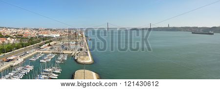 Lisbon, Portugal - March 03, 2016: Panorama of Belem marina the river Tejo and the Ponte 25 de Abril  Lisbon Portugal.