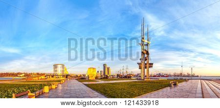 GDYNIA, POLAND - APRIL 23, 2015: Kosciuszko Square in early morning light - representation places in Gdynia.
