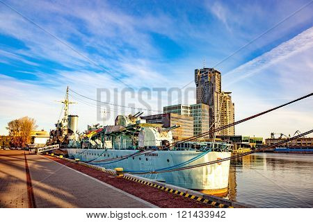 Warship At Sunrise