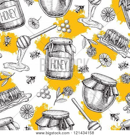 Vector honey seamless pattern. Vintage hand drawn honey background. Engraved organic food