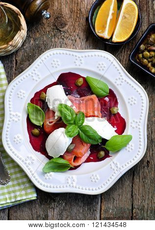 beet salad, soft cheese and smoked salmon with capers and olive oil.