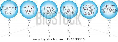 Set Of Blue Balloons With Inscriptions With Holiday Inscriptions About Love, Wedding