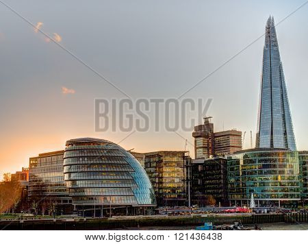 London England - November 18 2015: Glass covered skyscrapers in the office area of London