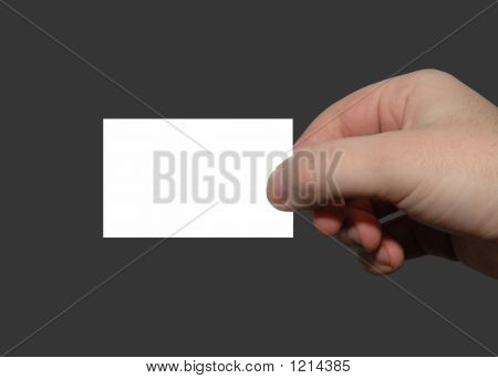 Hand Holding Blank Visiting Card