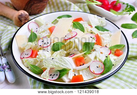 Vegetable salad of Chinese cabbage, radish, tomato and spinach with flaxseed, sesame seeds and olive