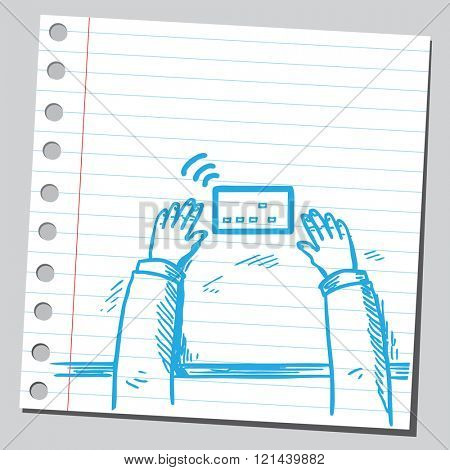Hands on table with tablet