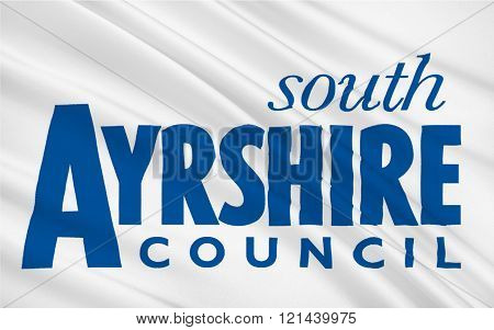 Flag of South Ayrshire is council areas of Scotland, United Kingdom of Great Britain