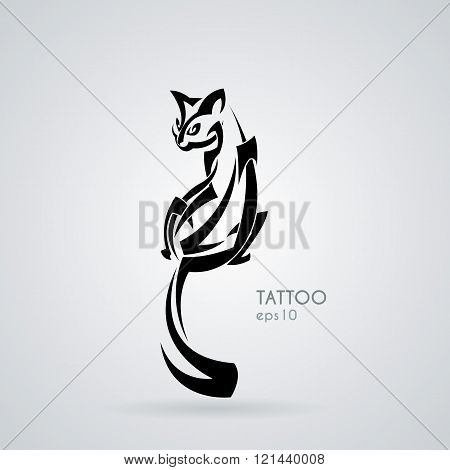 Vector image of a kindly and friendly domestic cat in the style of tribal tattoos.