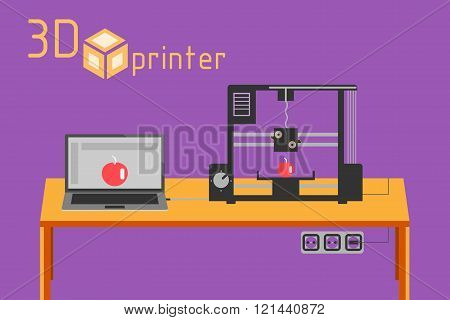 3d printer flat style on colored background