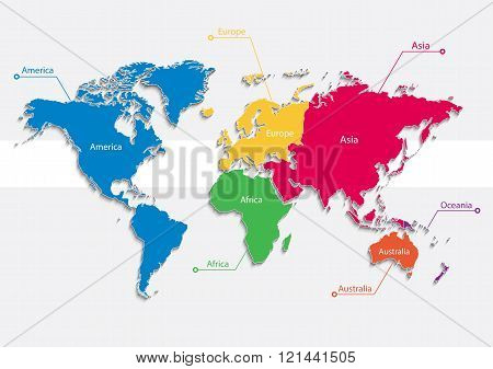 world map continents colors vector - Individual separate continents - Europe, Asia, Africa, America,