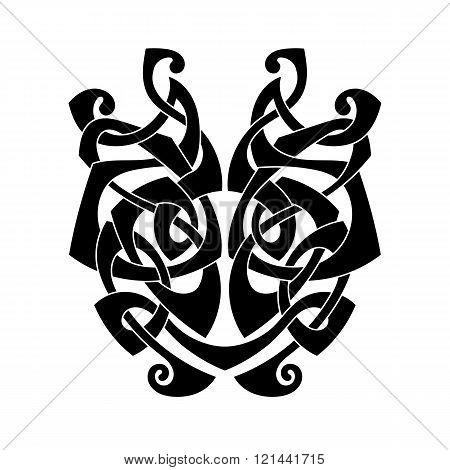 Elegant difficult curled ornamental gothic tattoo. Celtic style. Maori.