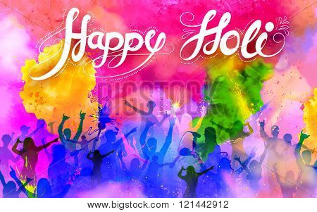 illustration of DJ party banner for Holi celebration