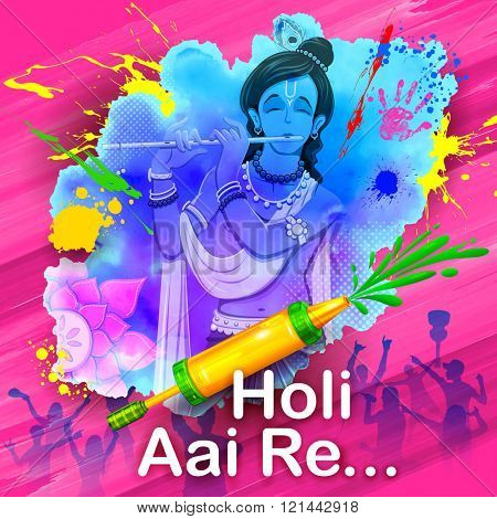 illustration of Lord Krishna playing flute with message Holi Aai Re meaning Holi has arrived