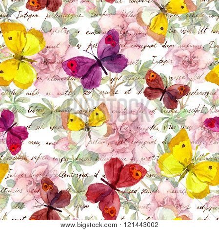 Flowers, butterflies and vintage hand written text letter. Watercolor. Retro repeated pattern