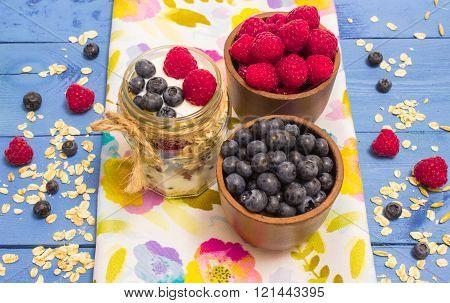 Oat, Oatmeal And Fresh Fruits