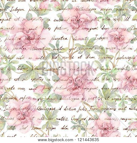 Pink camelia flowers and vintage ink text letter. Watercolor. Repeating retro floral pattern