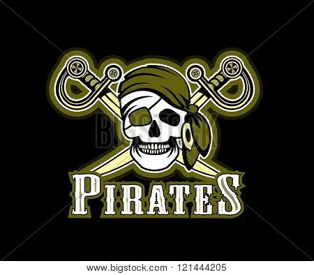 cheerp Pirate in red bandana pirate symbol of a skull and crossed swords