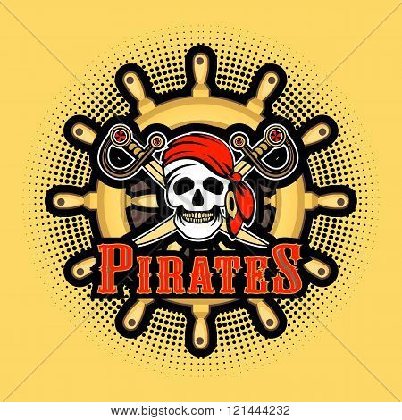 Sea pirate skull bandana on the background of the wheel Jolly Roger logo on a white background