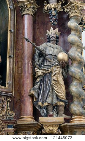 KOTARI, CROATIA - SEPTEMBER 16: Saint Stephen of Hungary, main altar in the church of Saint Leonard of Noblac in Kotari, Croatia on September 16, 2015.
